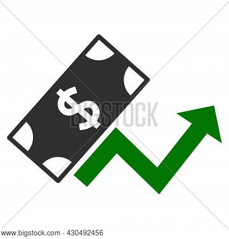 Dollar Growth Trend Icon With Flat Style. Isolated Vector Dollar Growth Trend Icon Image On A White