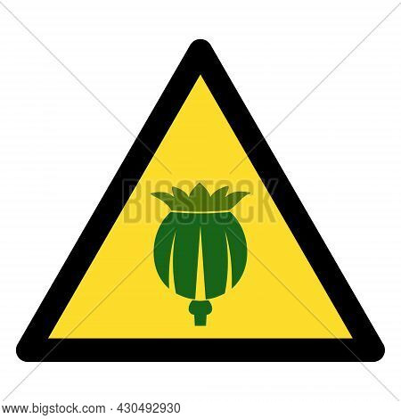 Opium Poppy Warning Icon With Flat Style. Isolated Vector Opium Poppy Warning Icon Image On A White