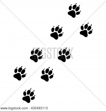 Tiger Paw Trace Icon With Flat Style. Isolated Vector Tiger Paw Trace Icon Image On A White Backgrou