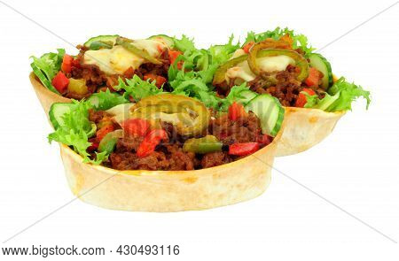 Chilli Beef And Fresh Salad Filled Taco Boats With Melted Cheese