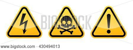 Triangular Warning Vector Signs. High Voltage Sign. Warning Attention Sign With Exclamation Mark. Sk