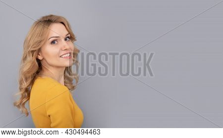 Cheerful Blonde Beauty Woman With Curly Hair, Copy Space, Youth