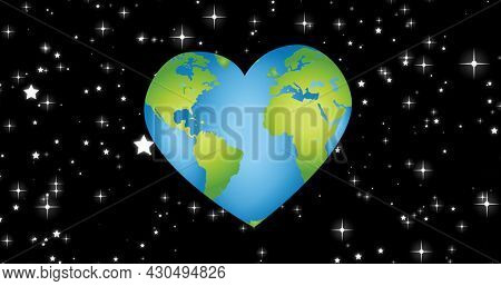 Composition of heart shaped globe on starry night sky background. global conservation and earth day concept digitally generated image.