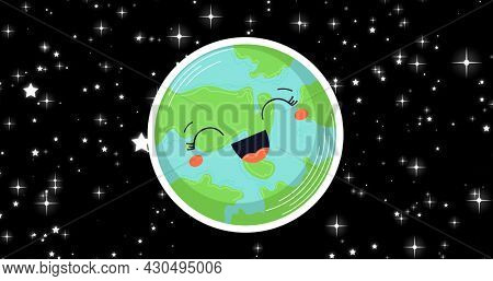 Composition of laughing globe on starry night sky background. global conservation and earth day concept digitally generated image.