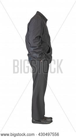 Men's Black Jacket ,black Pants And Black Leather Shoes Isolated On White Background. Men's Autumn C