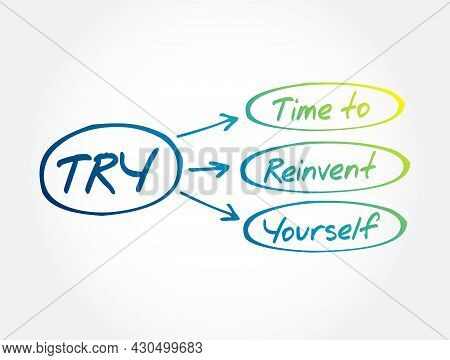 Try - Time To Reinvent Yourself Acronym, Business Concept Background