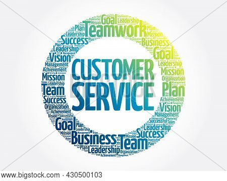 Customer Service Circle Stamp Word Cloud, Business Concept