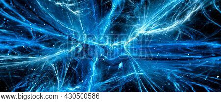 Blue Glowing Vibrant Interstellar Energy Force Fields Banner, Matter, Antimatter Dark Matter And Dar