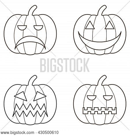 Black Halloween Logo Set Of Pumpkin. Sticker Pack Of 4 Jack O Lanterns. Eps 10 Vector Halloween Logo
