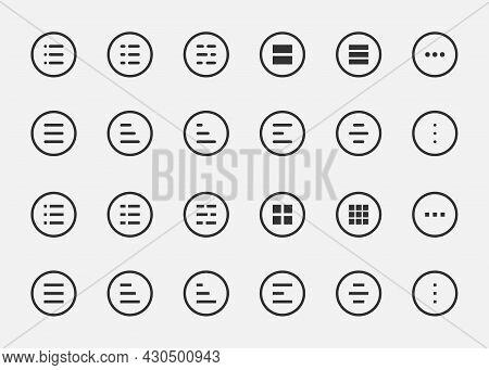 Application Burger Lines Menu Symbol. Line Icon Button Navigation, Web Element App. Ui Interface Des
