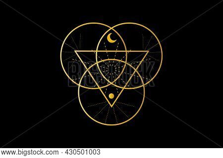 Sacred Geometry, Triangle Logo And Overlapping Circles, Triquetra Trinity Knot Symbol, Triple Goddes