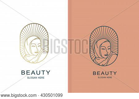 Hijab Line Art Fashion Logo And Brand Design Template In Trendy Linear Minimal Style Fashion