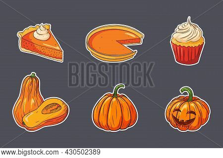 Thanksgiving Food Stickers Set. Fresh Ripe Pumpkins, Pumpkin Pies And Cupcake. Collection Of Autumn