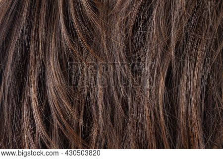 Texture Of Natural Dark Brunette Straight Hair. Hair Cut, Styling, Care Or Extension Concept