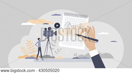 Video Script And Screenplay Text Writing Work For Movie Tiny Person Concept. Shooting Scene Paper In