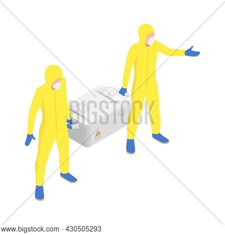 Microbiology Biotechnology Isometric Composition With Two Human Characters In Biohazard Suits Holdin