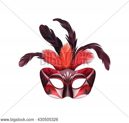 Realistic Carvinal Mask Composition With Isolated Image Of Masquerade Mask With Black And Red Decora