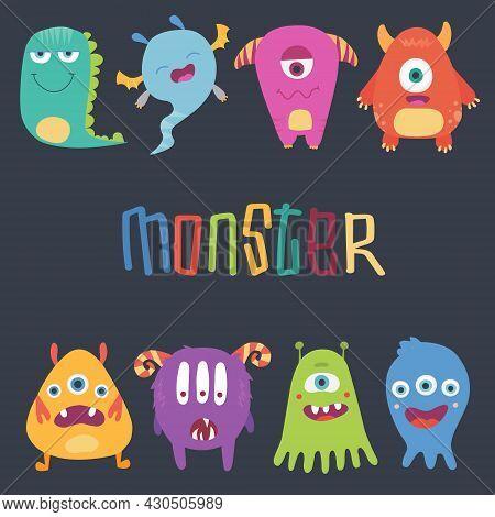 Cute Cartoon Monsters. Vector Set Of Cartoon Monsters: Caterpillar, Ghost, Goblin, Bigfoot, Microbe