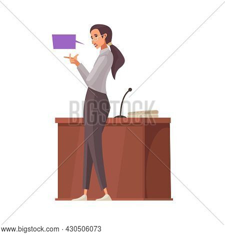 Law Justice Composition With Doodle Character Of Female Lawyer With Thought Bubble Vector Illustrati