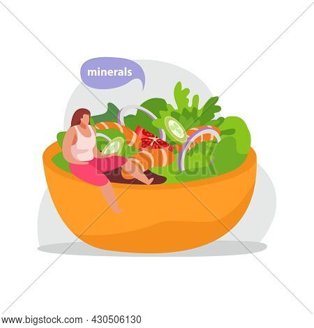 Healthy And Super Food Flat Icons Composition With Woman Sitting On Edge Of Dish With Shrimp Salad V