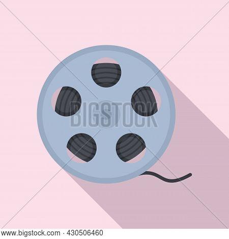 Film Reel Icon Flat Vector. Movie Cinema. Video Camera