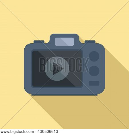 Photo Camera Icon Flat Vector. Digital Picture. Flash Photography