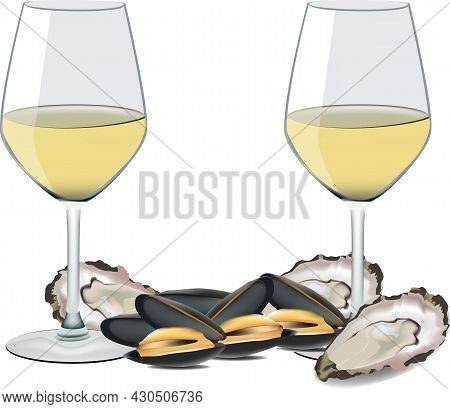 Glass Of White Wine With Mussels And Oysters
