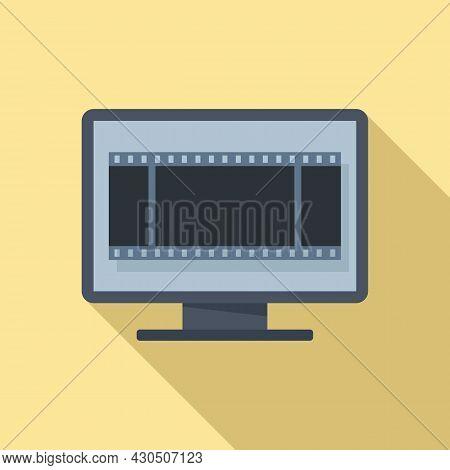 Fast Video Edit Icon Flat Vector. Cinema Film. Send Recorder