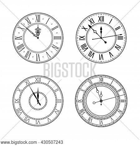 Old Elegant Black And White Retro Clock Face Set With Roman Numerals And Ornate Vintage Hands. Vecto