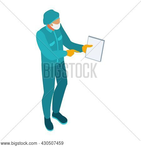 Isometric Infectious Disease Doctor Scientist Virologist Composition With Medical Specialist In Prot