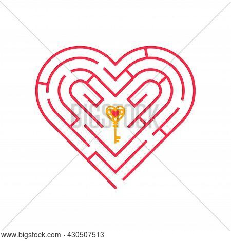 Heart Shape Pink Maze Concept Icon With Golden Key. Vector Illustration. Find Path Or Way To Soul, S
