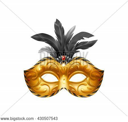 Realistic Carvinal Mask Composition With Isolated Image Of Golden Masquerade Mask With Black Feather