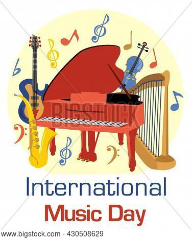 International Music Day With Musical Instruments Vector. Musical Instruments Vector Illustration. In