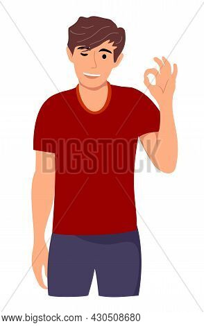 Happy Excited Young Man Is Standing Isolated On A Pure Background And Shows Ok Sign. Portrait Of A G