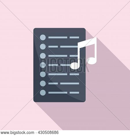 Song Playlist Icon Flat Vector. Mobile Application. Music Song List