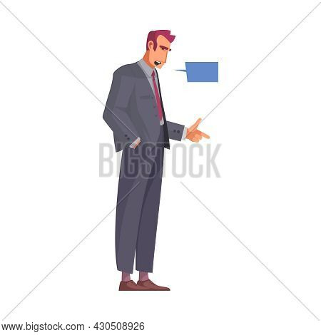Law Justice Composition With Male Attorney Pointing Finger With Thought Bubble Vector Illustration