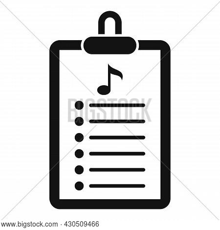 Playlist Clipboard Icon Simple Vector. Music Song. Mobile App