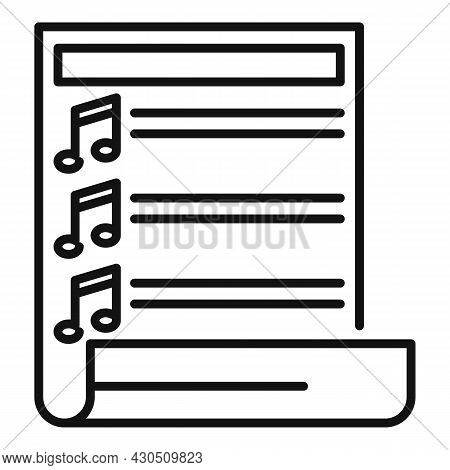 Paper Playlist Icon Outline Vector. Music Song. App Mobile Phone