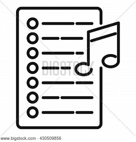 Song Playlist Icon Outline Vector. Mobile Application. Music Song List