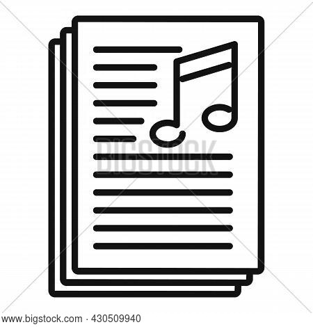 Playlist Text Icon Outline Vector. Music Song List. Mobile App