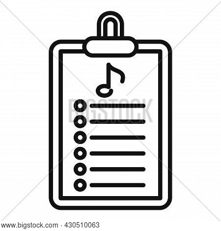 Playlist Clipboard Icon Outline Vector. Music Song. Mobile App