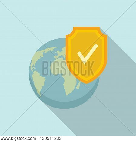 Reliability World Icon Flat Vector. Globe Trip. Earth Route