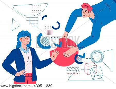 Collaboration And Cooperation Concept With Business Persons Work Together To Achieve Goal. Business