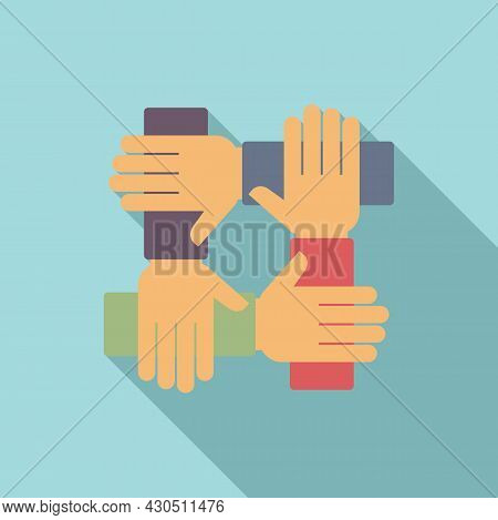Reliability Group Icon Flat Vector. Social Hand. Business Team