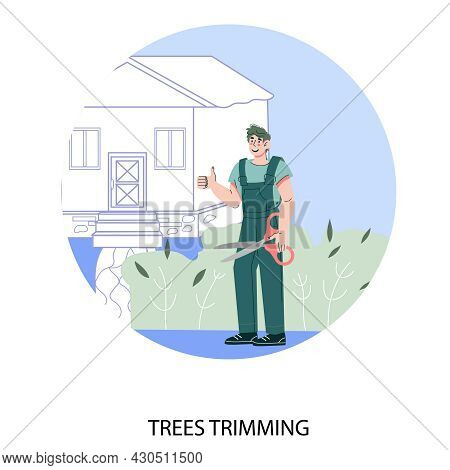 Trees Trimming Service Circle Banner Template With Cartoon Gardener, Flat Vector Illustration Isolat