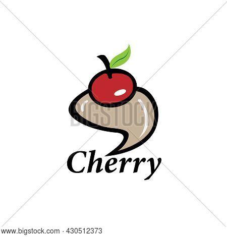 Cherry Fruit Design Logo Vector. Cherry Illustration Vector