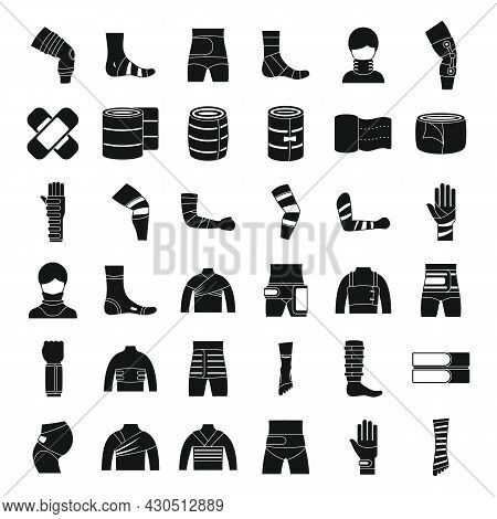 Bandage Icons Set Simple Vector. First Aid. Medical Trauma