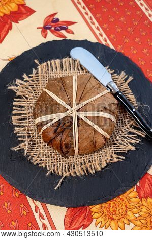 Taste Of Provence, Ancient Small Goat Cheese Banon A La Feuille Wrapped In Chestnut Leaves And Tied