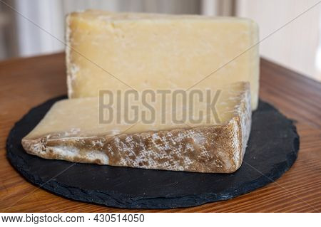 Cheese Collection, Hard French Cheese Old Cantal Made From Raw Cow Milk With Rind