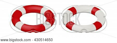 Isometric Rescue Life Belt, Marine Lifebuoy Water Safety Isolated On White Background. Collection Of